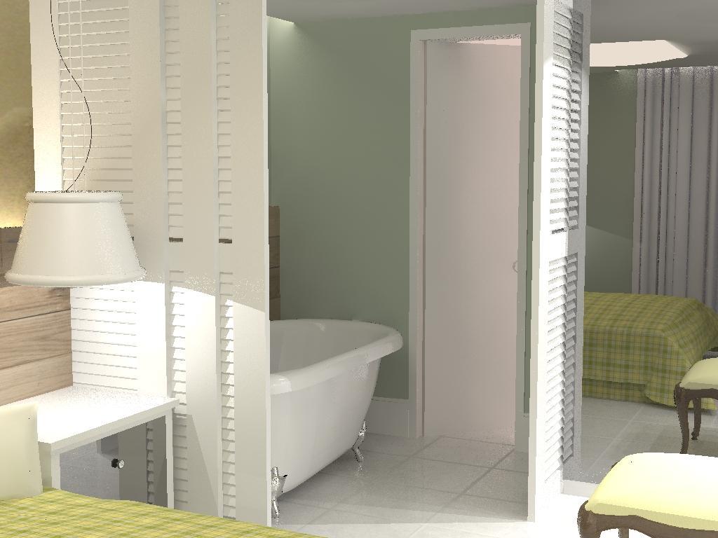 Imagem ilustrativa de Suíte com banheira no quarto – Apartamento Ed  #8B8A40 1024 768